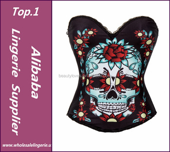 25bf10fc97 Red Rose   Skull Printed Push Up Corsets And Bustiers Steampunk Corselet  Punk Gothic Clothing Sexy