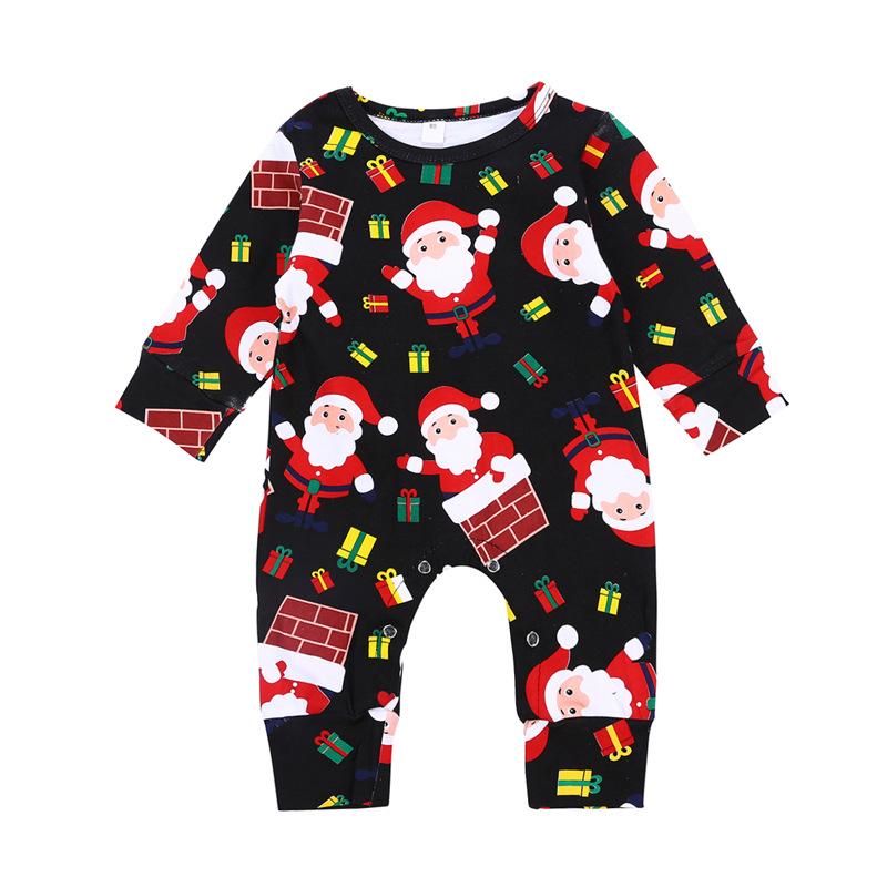 874e14950eb21 Noël pyjama grenouillère manches longues bébé filles en bas âge vêtements  bébé barboteuses en coton bio