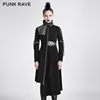 Y-689 Punk Asymmetric Vintage Waist Cut Stitching PU Leather Straightforward Turtleneck Long Jacket