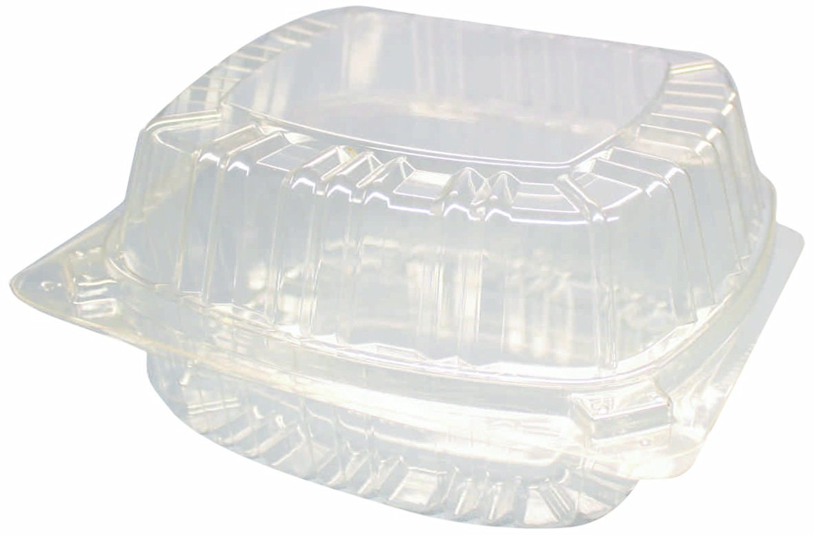 """Choice-Pac L1D-1114-clr Polyethylene Terephthalate Square Cold Clamshell Container, 6"""" Length x 5-3/4"""" Width x 2-7/8"""" Height, Clear (Case of 300)"""