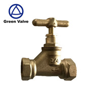 "Green Valves Good Quality Long Stem ""1""Type Handle Manual Angle Water Brass Stop Valve"