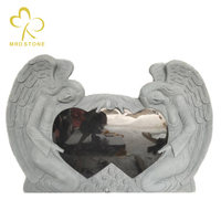 Custom Made Angel Carving Stone Granite Heart Shaped Tombstone