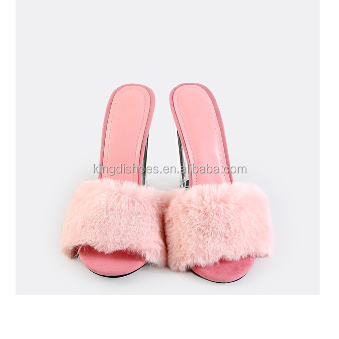 17277e0413e 2018 summer newest women sandals clear perspex block heels pink fuzzy lucite  heel mules for sale