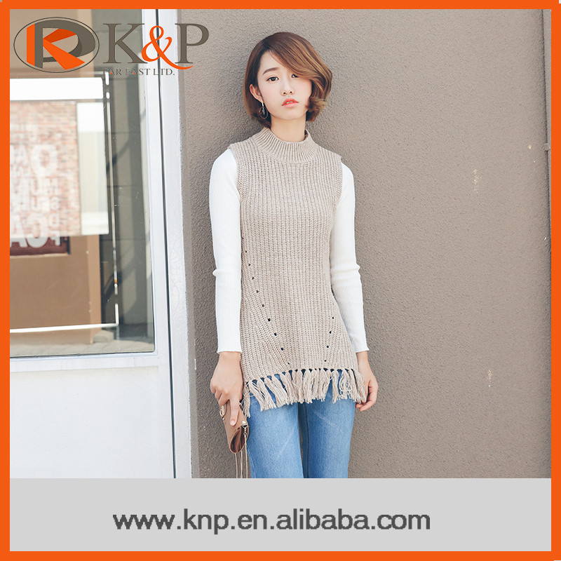 Best Selling Unique And Elegant Beige Vest Design Lady Sweater