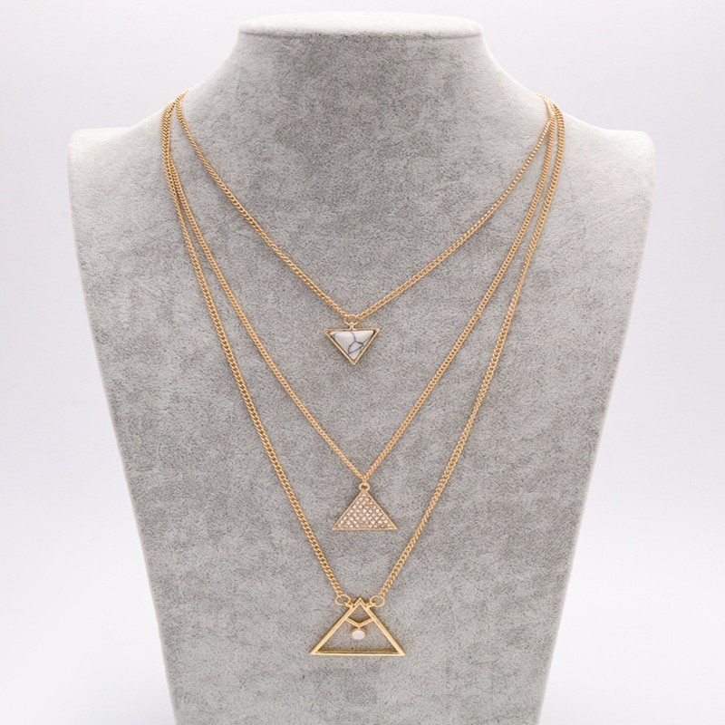 Best selling jewelry gold chain three multi layers necklace triangle pendant necklace
