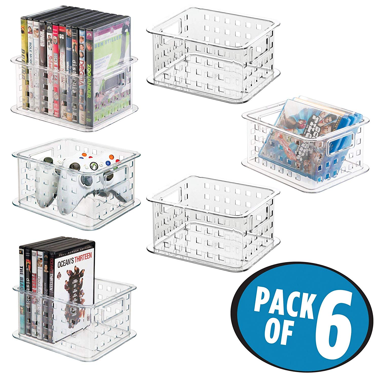 mDesign Plastic Stackable Household Storage Organizer Container Bin with Handles - for Media Consoles, Closets, Cabinets - Holds DVD's, Blu Ray, Video Games, Gaming Accessories - 6 Pack, Clear