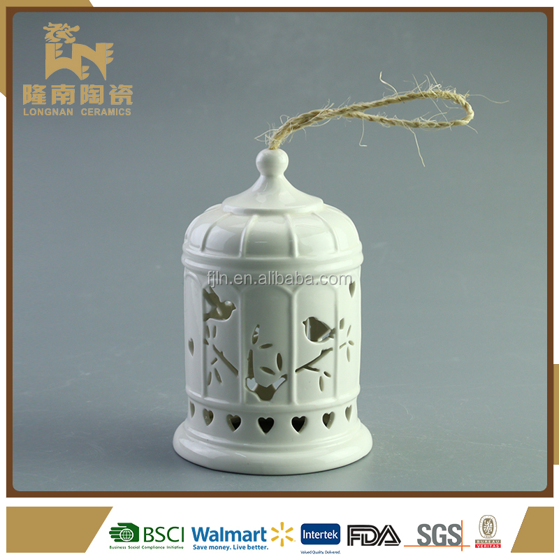 Bell shape hollow out decor white ceramic solar led lantern
