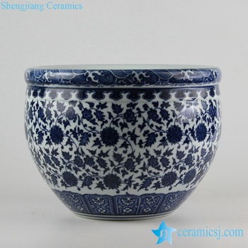 Rzfu09-a-c73-01 Blue And White Floral Tall Ceramic Planter