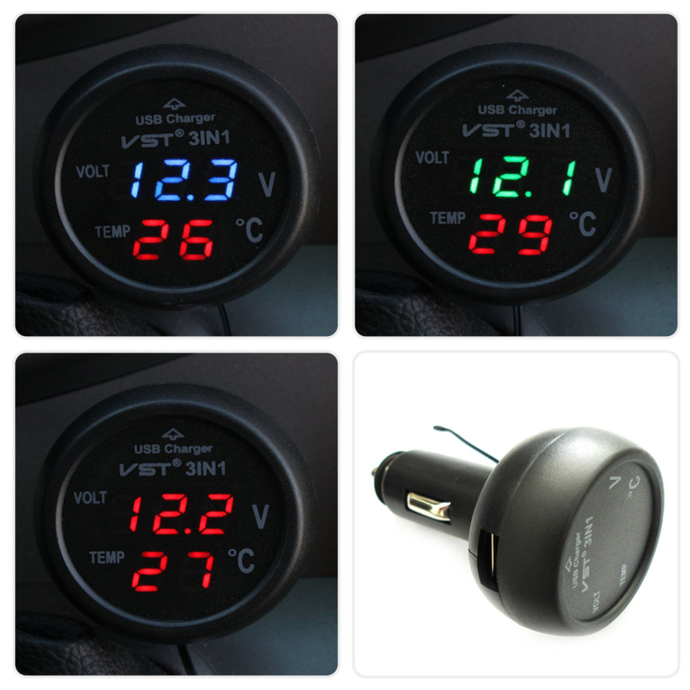 Red 3in1 Car USB Charger Battery temperature Thermometer Voltmeter LED Digital 12/24V Monitor <strong>display</strong> Free Shipping~