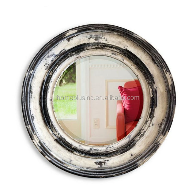 home decor hotel compact round wood frame wall mirror - Compact Hotel Decor
