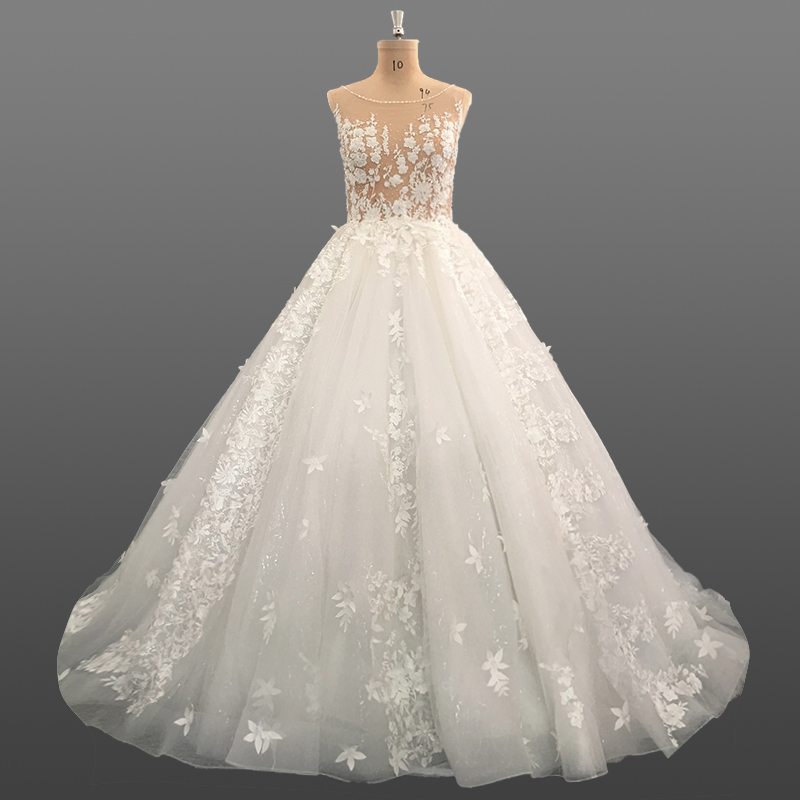 Luxury Appliqued Beading 2018 Wedding Dresses Cathedral Train Ball Gown Bridal Dress OEM