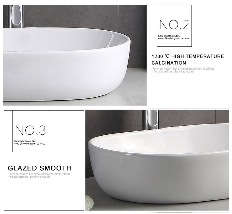 China Supplier Cleaning Glaze Bathroom Sanitary Ware Oval Ceramic Art Basin