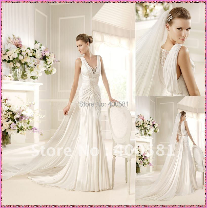 Beaded Wedding Dress With Detachable Train: Fitted V Neck Sheath Ruched Beaded Appliques Chiffon