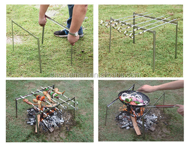 Portable & Folding Stake Type Stainless Steel Stand-alone Barbecue Grill Rack/Stand w/6 pcs Skewer and Carry Bag Packing
