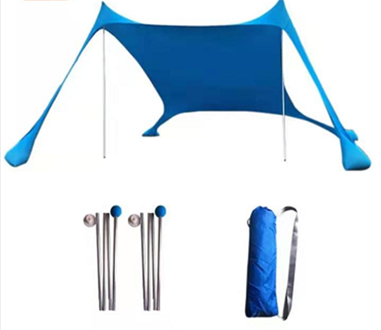 Yeler blue  Sunshade Beach Tent with Sand Anchors and Canopy for Beach Camping Windproof UV Protection