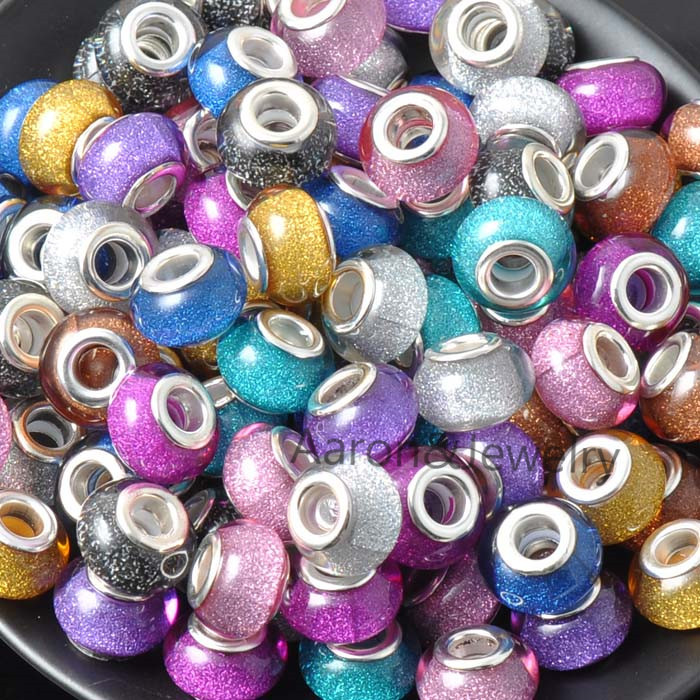 14MM 10Pcs Mixed Color silver plated Beads Charms Fit Pandora Jewelry Bracelet For Jewelry Handmade DK