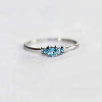 Dainty silver Blue Zircon Rings Three Stone Engagement Ring