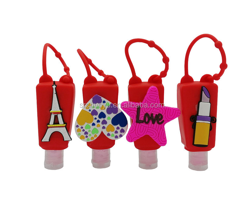 1 Fl OZ 30ML Hand Sanitizer Gel With Cherry Scent Anti-bacterial Disfectant Silicone Hanging Holder