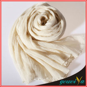High Quality Crumple Fake Silk Chiffon Cream Scarf