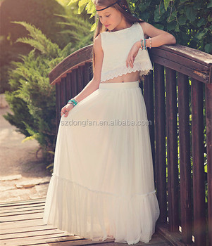 Bohemian Flower Girl Dress Weddings Bridesmaid Dresses Boho Skirt And Girls Top Outfit Beautiful Long Frocks Buy Girls Top White Long Maxi