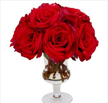 Whole Artificial Red Rose For Wedding Party Decorative Silk Flower