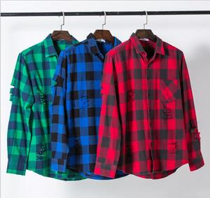 mens wholesale plaid flannel cotton fabric shirt