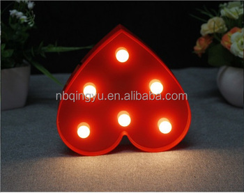 Marquee Light Up Red Heart Sign Night For Kids Wedding Led Plastic