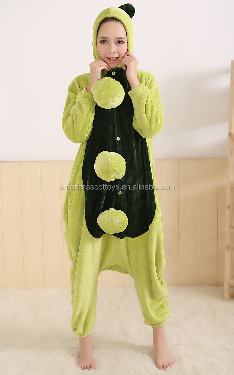 Halloween cosplay funny pea adult onesie pajamas with front buttons flannel pea onesie pajamas