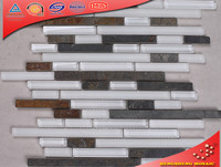 HKS-010 Rusting Slate Mix Glass Home Depot Stone Wall For Kitchen Decoration