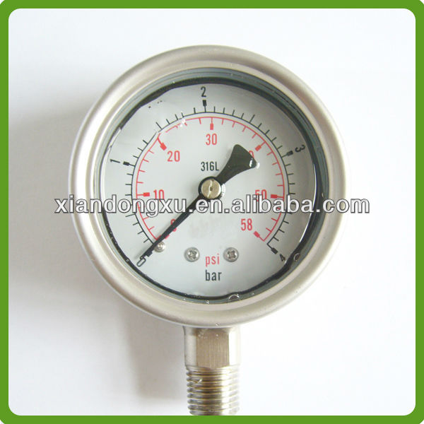 Bottom Connect Glycerine Oil Filled SS Air Pressure Gauge