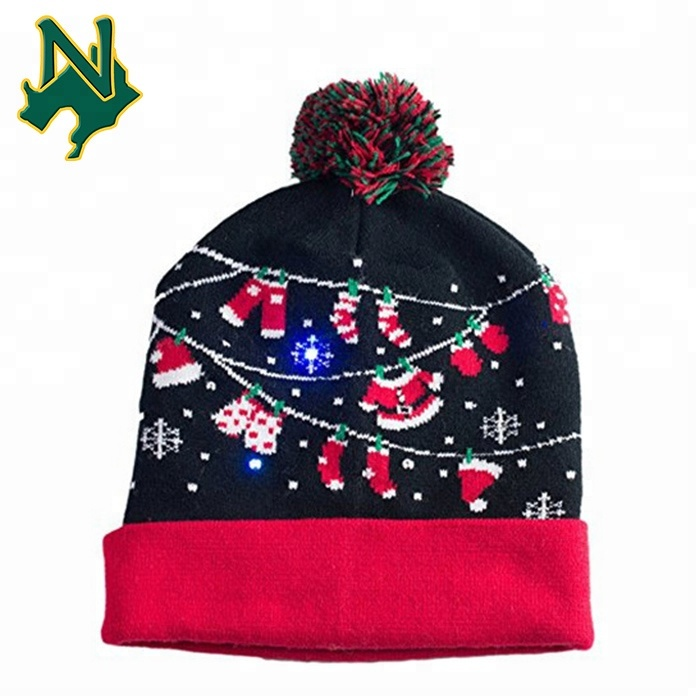 light up christmas hat santa clothes led lights cuff pom pom beanie view light up christmas hat fscaps product details from guangzhou new apparel trade