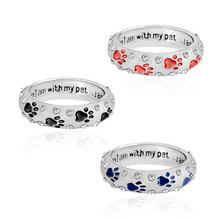 "Fashion rings pet dog paw print ""when I am with my pet"" unconditional love enamel heart crystal rings"