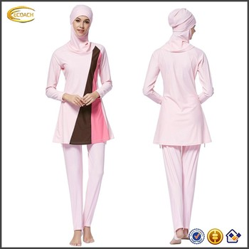 Ecoach Wholesale OEM 2016 Women Islamic Swimsuit Swimming Hijab Swimwear Muslim Full Cover Beachwear