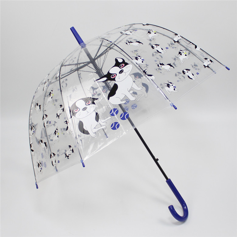 Manufacturer POE clear transparent dome frame straight auto umbrella