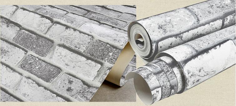 Pvc de vinilo papel pintado de ladrillo blanco para la for Papel vinilo blanco