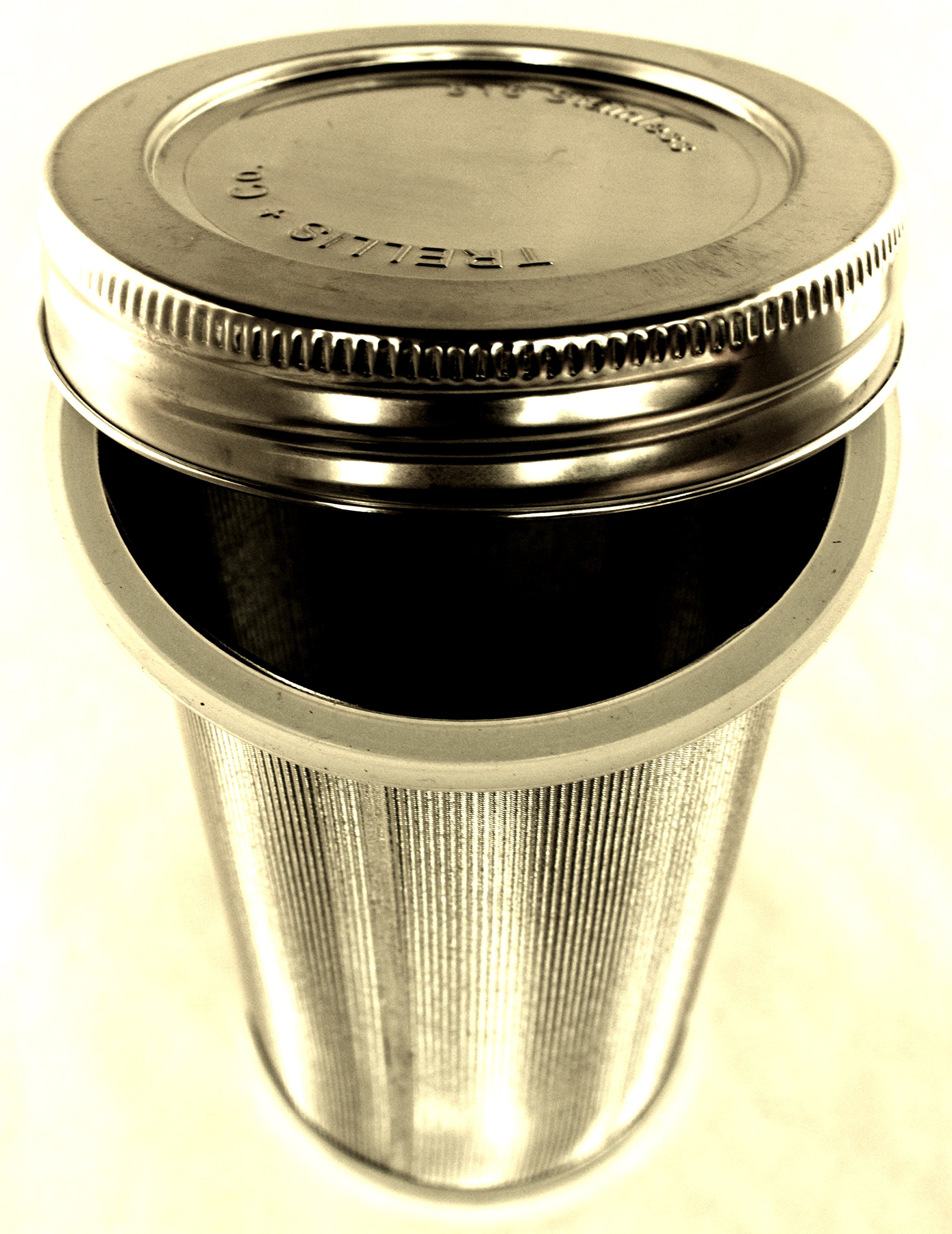 T&Co. Cold Brew Coffee Stainless Steel Filter & Lid - 80 Micron Woven Filter, Lid & Gaskets, Instructions - Make Cold Brewed Coffee/Iced Tea/Steeped Sun Tea - Fits Wide Mouthed Mason Jars