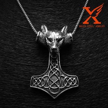 Gothic jewelry wolf head pendantstainless steel thors hammer gothic jewelry wolf head pendantstainless steel thors hammer mjolnir pendant jewelry aloadofball Images