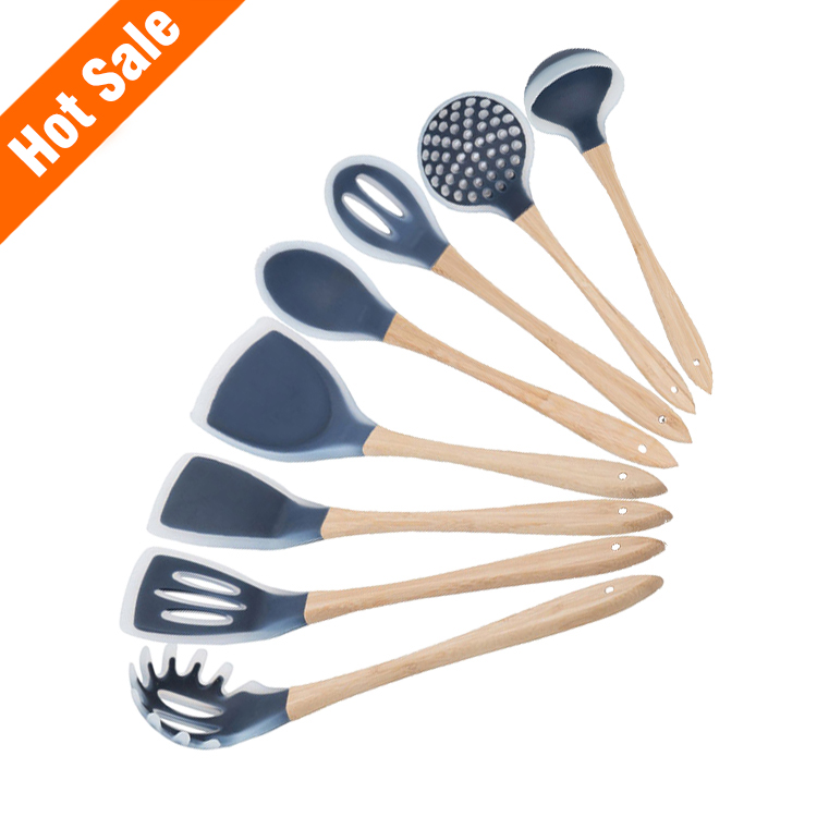 Factory price 8piece Silicone Cooking Spoons Kitchen Utensil Set,Bamboo Utensils Includes Solid Turner,Slotted Spoon,Tuner