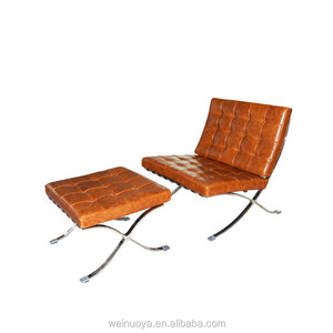 Replica Mies Van Der Rohe Barcelona Chair with Italian Leather Upholstery