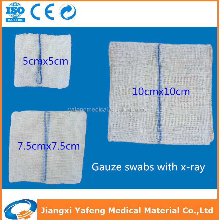 Non-sterile cotton gauze sponges/swabs/pads with x-ray detectable thread