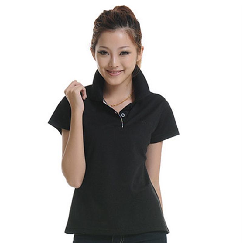 M-xxl летний стиль 14 быстро сухой тонкий конфеты сплошной цвет черный белый мода с коротким рукавом дамы рубашка поло для женщин