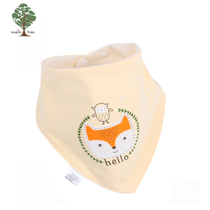 Muslin tree washable new fashion triangle towel baby bib with blind buckle