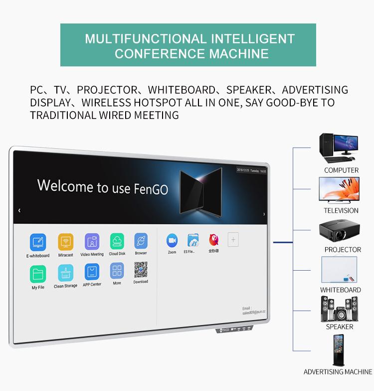 55 65 75 86 100 inç LED LCD Interaktif Beyaz Tahta Düz Panel Dokunmatik Ekran HD 4 K Akıllı TV