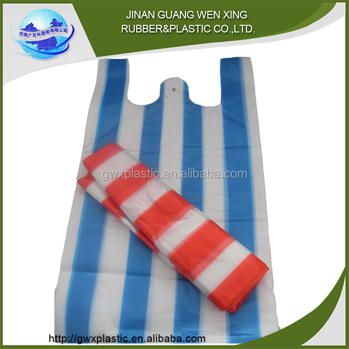 Plastic vegetable carry bags on roll printing t-shirt bag