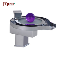Fyeer Hot Sale Modern 3 Color Led Faucet Hydro Power Waterfall Solid Brass Basin Faucet