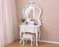 White Dressing Table Vanity Desk Shabby Chic Makeup Storage Mirror & Stool