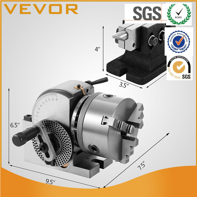 Dividing Head BS-0 5Inch 3 Jaw Chuck Dividing Head Set Precision Semi Universal Dividing Head for Milling Machine Rotary Table T