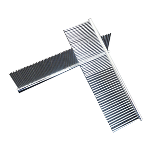 Pet hair comb with round handle straight bar stainless steel