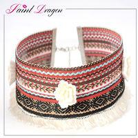 Customized ethnic style flower fabric choker necklace for women alibaba wholesale