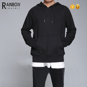 Latest design thick plain black mens hoodie exporter